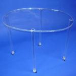 Oval-Tisch, Plexiglasrohrfüße mit Rollen